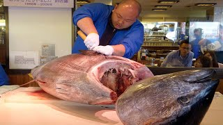 Amazing Fastest Giant Bluefin Tuna Fish Cutting Skill - Most satisfying fish processing videos