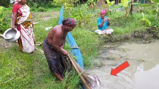 Catching Big Catfish By Cast Net Fishing - Fish Catching By Beautiful Village Aunty